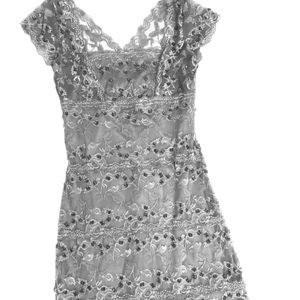 ONYX NITE silver beaded lace cocktail dress.